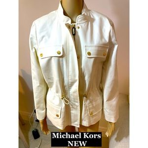Michael Kors Cotton turtleneck Logo Blazer Sz Lg